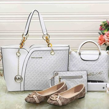 Mk Women Leather Tote Satchel Crossbody Handbag Shoes Wallet Four Piece Suit