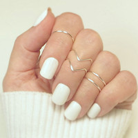 5pcs simple women knuckle rings female stacking gold silver black punk ring V midi finger tip ring set for women charm anelli
