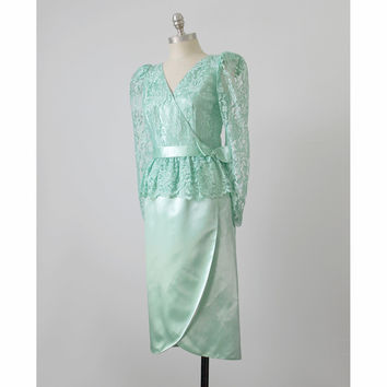 Vintage 50s Cocktail Dress | Sylvia Ann Mint Sea Green Satin Lace Peplum Evening Dress w/ Bow | 1950s Party Dress | Formal Prom | Medium M