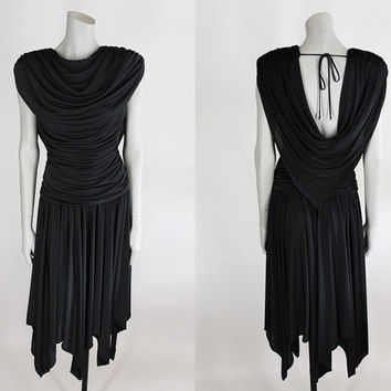 Vintage 80s Dress / 1980s Avant Garde Black Backless Draped Casadei Dress XS S