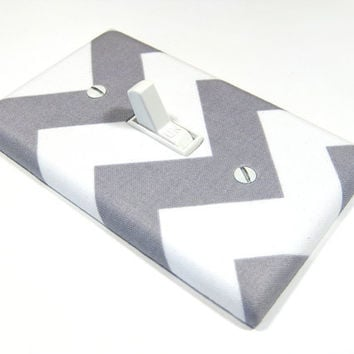 White and Gray Chevron RB Light Switch Cover Zig by ModernSwitch