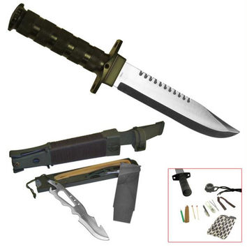 "Whetstone  Aitor Jungle King - 15"" knife with survival kit"
