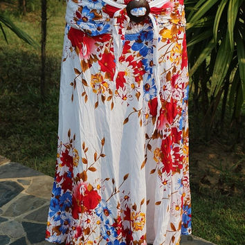 Summer Sale Long skirt made of pure cotton with coconut buckle
