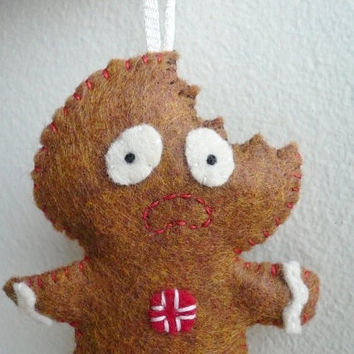 Scared Gingerbread Man - Funny Christmas Ornaments