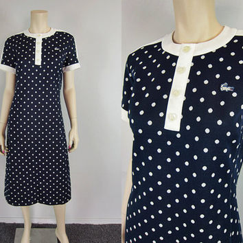 Chemise Lacoste Vintage 60s 70s Polka Dot Scooter Shift Dress Navy Blue and White Preppy Alligator Tennis sz M-L