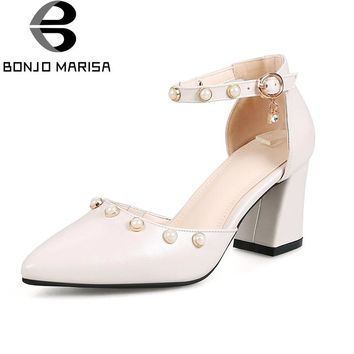 BONJOMARISA Women's Pearls Decoration Chunky High Heel Pointed Toe Summer Shoes Woman Ankle Strap Pumps Big Size 33-40