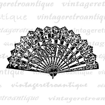 Printable Digital Chinese Fan Graphic Oriental Fan Image Download Vintage Clip Art Jpg Png Eps  HQ 300dpi No.1405