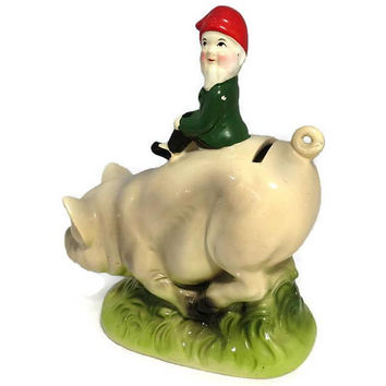 Vintage Piggy Bank, Ceramic Gnome on a Pig, Irish Still Bank, Lucky Pig Bank, Coin Bank, Collectible Savings Bank