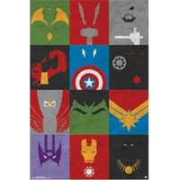 Avengers - Minimalist Grid Poster Shop For College Posters Dorm Room Decorating Ideas