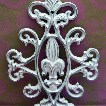 Fleur de lis Ornate Decorative Cast Iron Painted Classic White Distressed Wall Decor French Decor, Paris, Shabby Chic