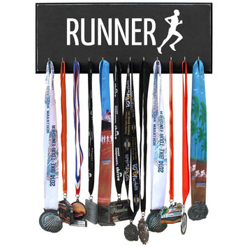 Medal Hanger - RUNNER - Black 12 Hooks - 20 inches wide