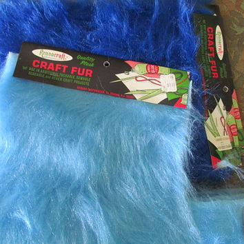 70s Light Blue Shaggy Fur Craft Project Craft Supplies Fur Shaggy Faux Fur Fabric Supply