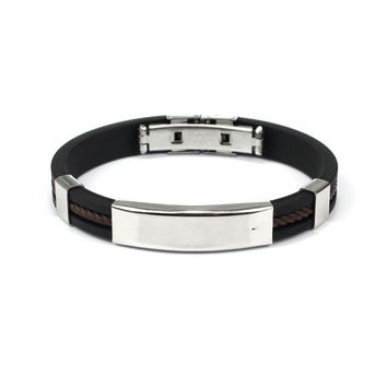 Fashion Punk Men Jewelry Bracelet Stainless Steel Cuff Bangle Silver Hand Chain Black Silicon Wristband
