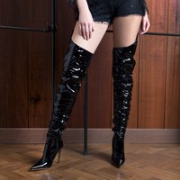 Houdini Extreme Thigh High Vinyl Boots in Black Patent
