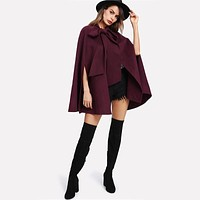 Burgundy Bow Tied Cape Coat