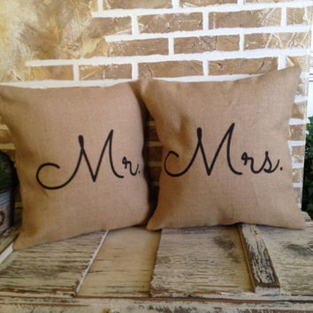 Burlap Pillows - Mr. and Mrs. - Wedding - Bridal Shower - Inserts Included