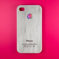 Iphone 4s Case - Colorful Logo on White Wood Iphone Case, Iphone 4 Case