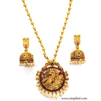 Matte gold finish Peacock Pendant Necklace and Earring set