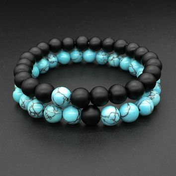 2 Pcs/Set Black Blue Couple Distance Bracelet Charms Yoga Meditation Braclet For Men Women Lovers Best Friend Jewelry Gift