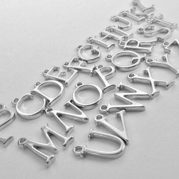 Silver Plated Letter Charm, Silver Initial Charms, Uppercase Letter Charms, Add A Charm, Extra Charm, Small Initial Charms