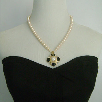 Vintage TRIFARI Faux Pearls Pearl Single Strand Necklace With Attached Gold Tone Black Enamel Pearl and Rhinestone Accent Center Pendant 21""