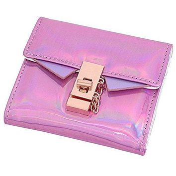 Women Fashion Holographic Wallet PU Leather Laser Cash Purse Handbag with Lock Catch