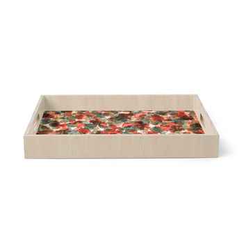 """Ebi Emporium """"WILD THING, RED TEAL"""" Red Teal Animal Print Abstract Watercolor Mixed Media Birchwood Tray"""