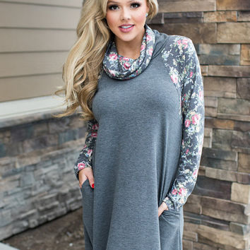 Please Make Up Your Mind Floral Sleeve Cowl Neck Tunic Charcoal