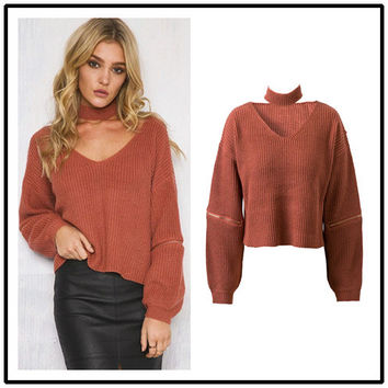 Knit Tops Women's Fashion Winter Pullover Sweater [9560989711]