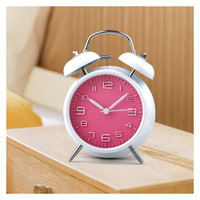 Ultra Quiet Classical Traditional Table Desk Vintage Alarm Clock with Night light Metal Metallic