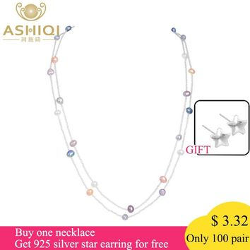 ASHIQI 120cm Baroque Freshwater Pearl multi layer Necklace 925 sterling silver clasp White crystal beads Jewelry gift for women