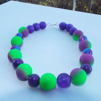 Fun Colorful Beaded Necklace,Purple Green Necklace, Gift for Daughter Birthday,Gum Surgery, Goddaughter Gift, Mom For Daughter Gift