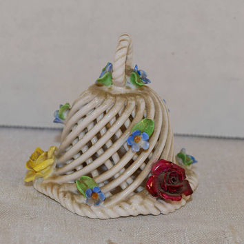 Lattice Porcelain Bell Vintage Sculpted Flowers Small Bell Ceramic Basket Weave Bell Capodimonte Style Vanity Dresser Decor Gifts for her