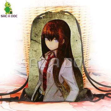 Anime Backpack School kawaii cute Steins;Gate Makise Kurisu drawstring bag 3D printing backpack for teenage boys girls school bags softback travel rucksack AT_60_4