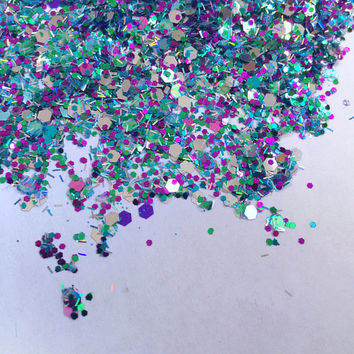 Ariel Treasures (Chunky Loose Glitter ~6 Grams): face, makeup, hair, nail art, festival glitter, costume, body glitter, rave makeup, mermaid