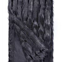 Black Vertical Fox *Limited Edition* Faux Fur Throw Blanket by Fabulous Furs