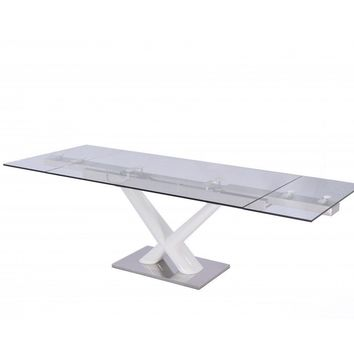 "Celeste Extendable Dining Table 1/2"" tempered clear glass top"