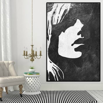 Girl Silhouette Abtract Painting Large, Extra Large Wall Art, Large Wall Art  Canvas,
