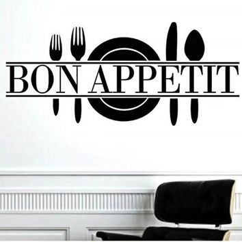 Bon Appetit Art Quote Living Room Kitchen Vinyl Wall Mural Decal Sticker Happy Gifts High Quality PVC Wall Stickers Home Decor