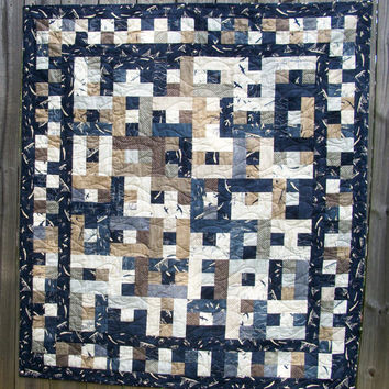 Nautical Lap Quilt Throw Quilt Beach House Quilted Navy Blue Quiltsy Handmade More Hearty Good Wishes FREE U.S. Shipping