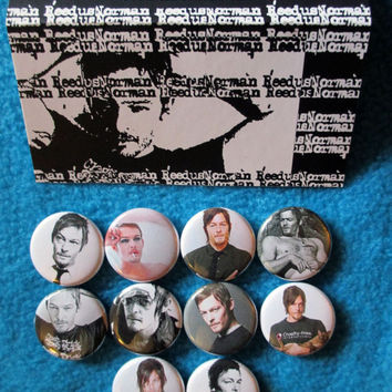 10pc 1 inch NORMAN REEDUS Pinback Buttons badges flair crossbow daryl dixon zombies dead