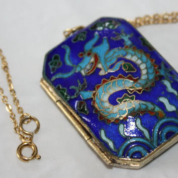 Blue Enamel Locket Vintage Chinese Cloisonne 1940s Jewelry Gold Gilt