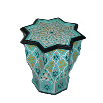 Multicolor Handpainted Arabesque Wooden End Table (Morocco) | Overstock.com