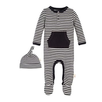 Candy Cane Stripe Footed Organic Baby One Piece Jumpbee & Hat