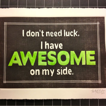 Green AWESOME linocut print poster
