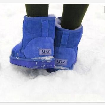 UGG Short boots antiskid warm lazy sheep fur ugg boots Blue