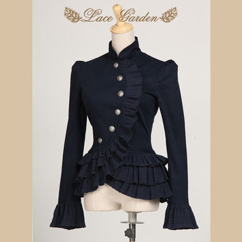 Vintage Navy Blue Ruffles Layered Women's Jacket Stand Collar Jacket with Asymmetrical Design by Lace Garden