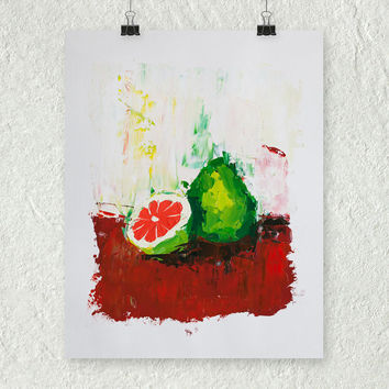 Pomelo Painting, Citrus Fruit Still Life, Small Oil Painting, Palette Knife Painting, Art on Paper, Abstract Fruit Art, Modern Wall Decor