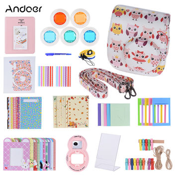 Andoer 14 in 1 Accessories Kit Camera Case for Fujifilm Instax Mini 8 8+ 8s with Strap Sticker Selfie Lens Colored Filter Album