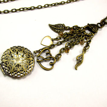 Aromatherapy Necklace - Beautiful Filigree Locket in Antique Brass with Charms and Crystals
